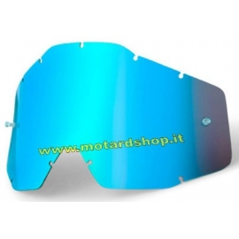 100% RACECRAFT/ACCURI/STRATA LENTE RICAMBIO SPECCHIATA BLUE