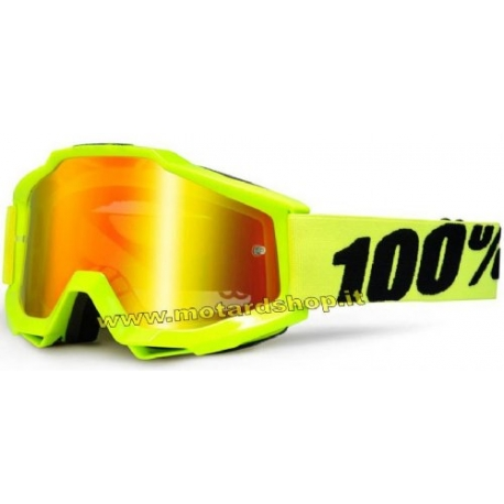 100% ACCURI  GOGGLE FLUO YELLOW LENS MIRROR RED