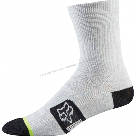 Fox Merino Wool Socks Heather White Calza tecnica MTB